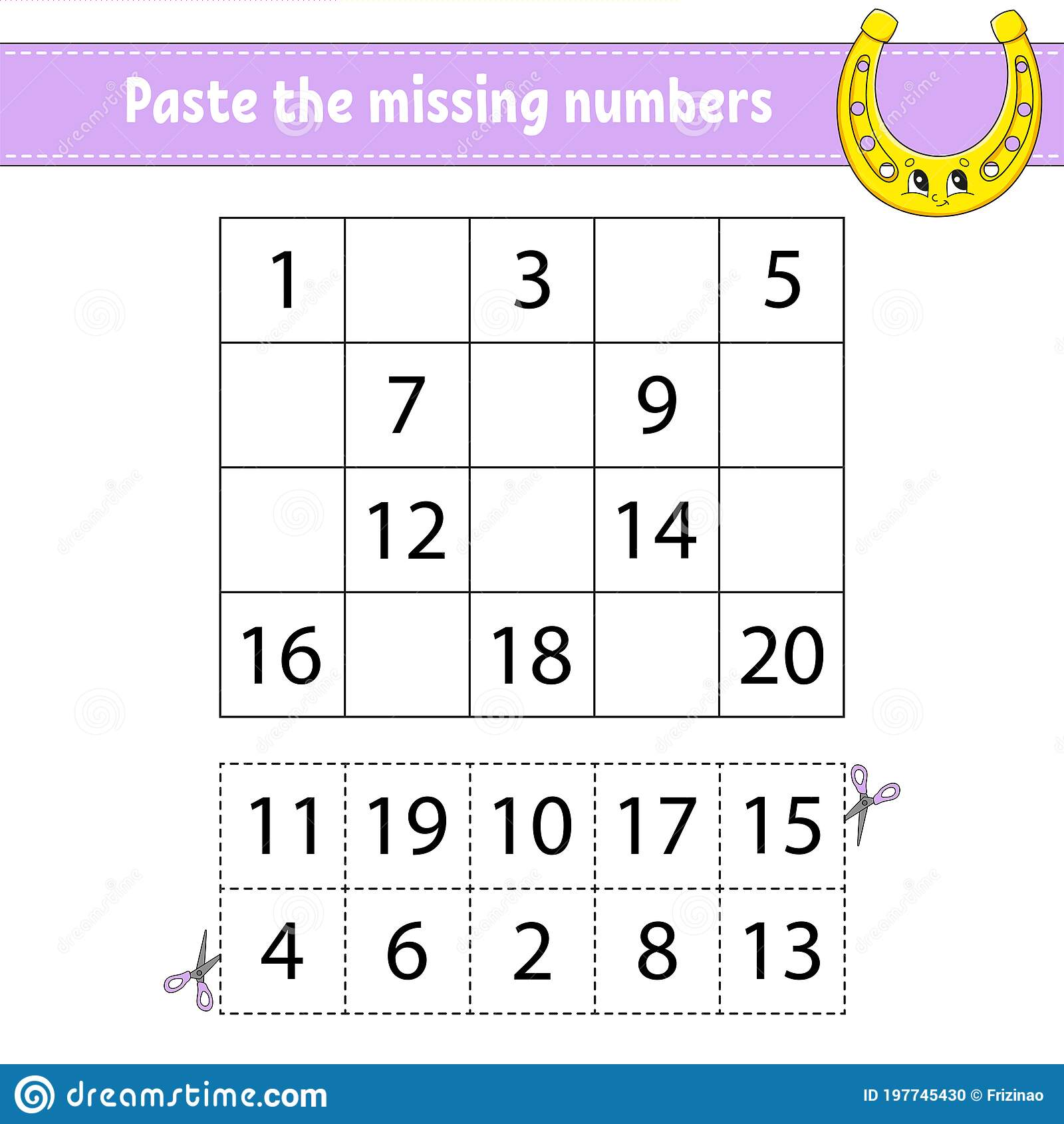 Paste The Missing Numbers 1 20 Game For Children