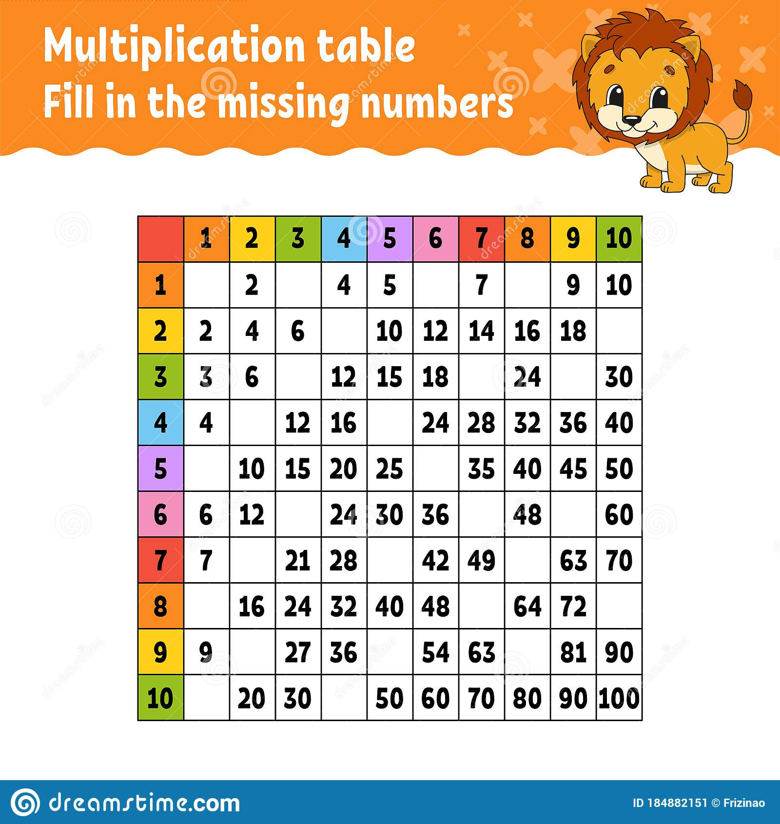 Paste The Missing Numbers Learning Multiplication Table