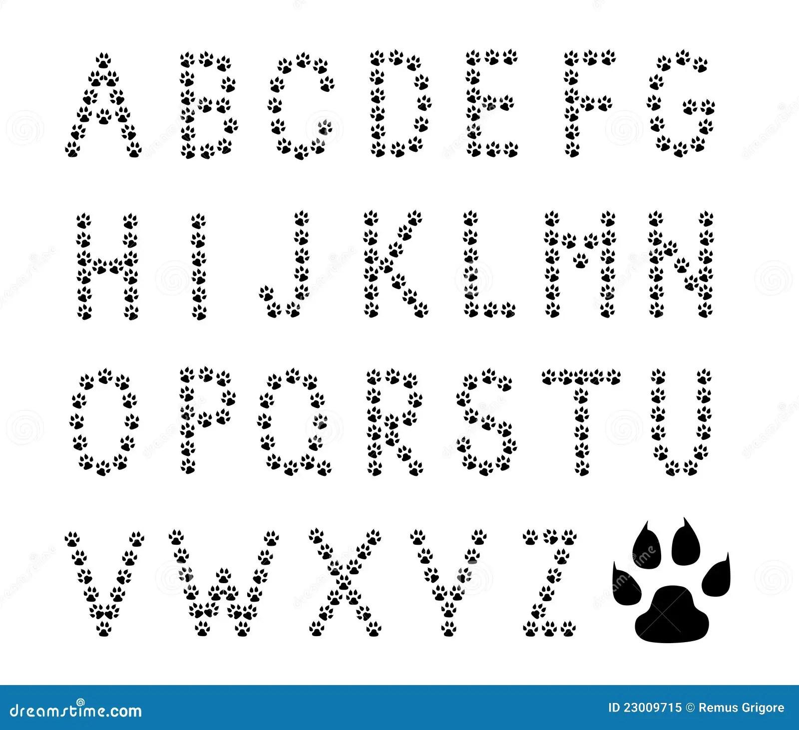 A Pata Imprime O Alfabeto Ilustracao Do Vetor Ilustracao