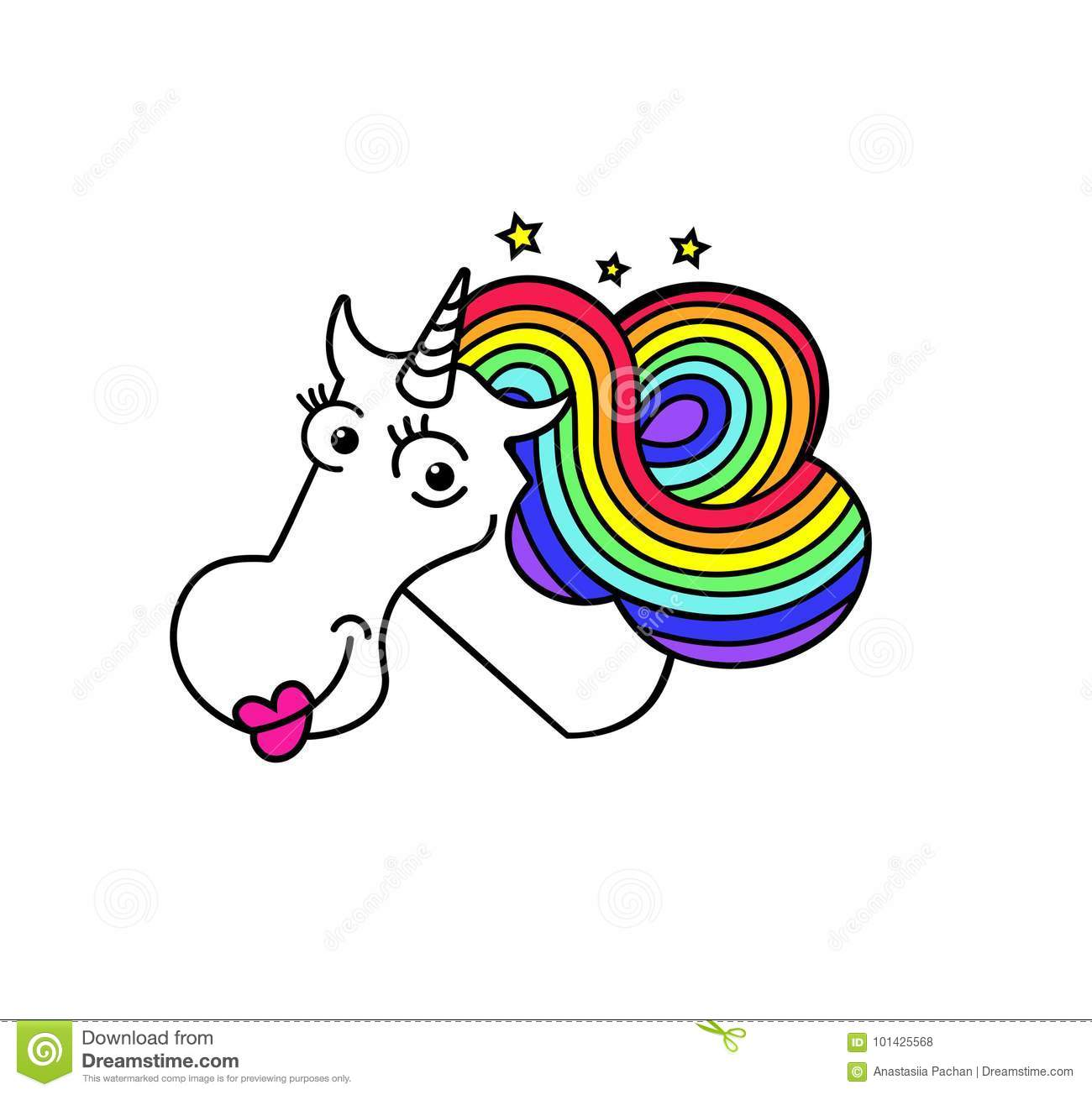 Magical White Unicorn With Pink Lips Rainbow Hair And