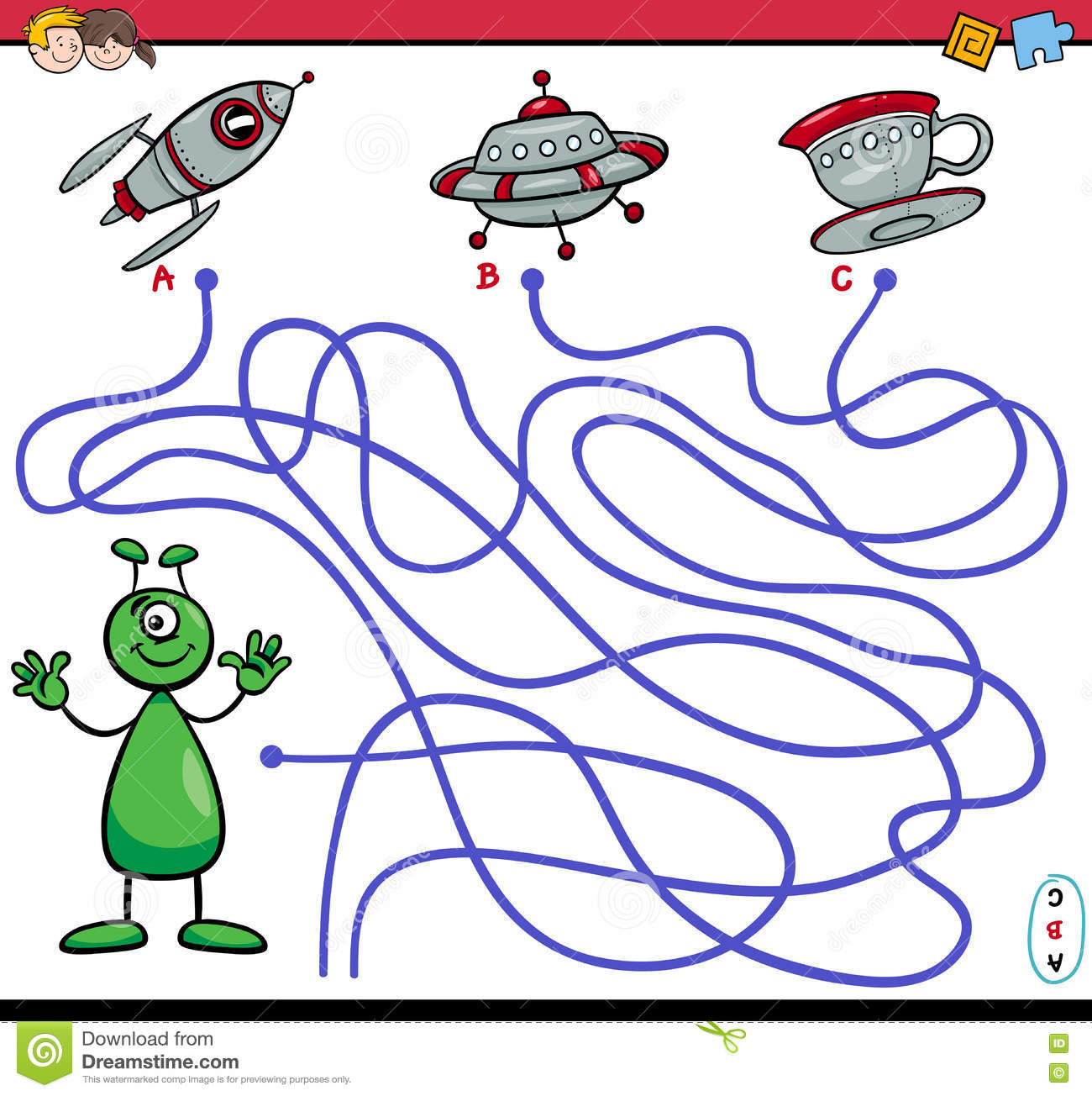 Path Maze Game With Alien Stock Vector Illustration Of Application