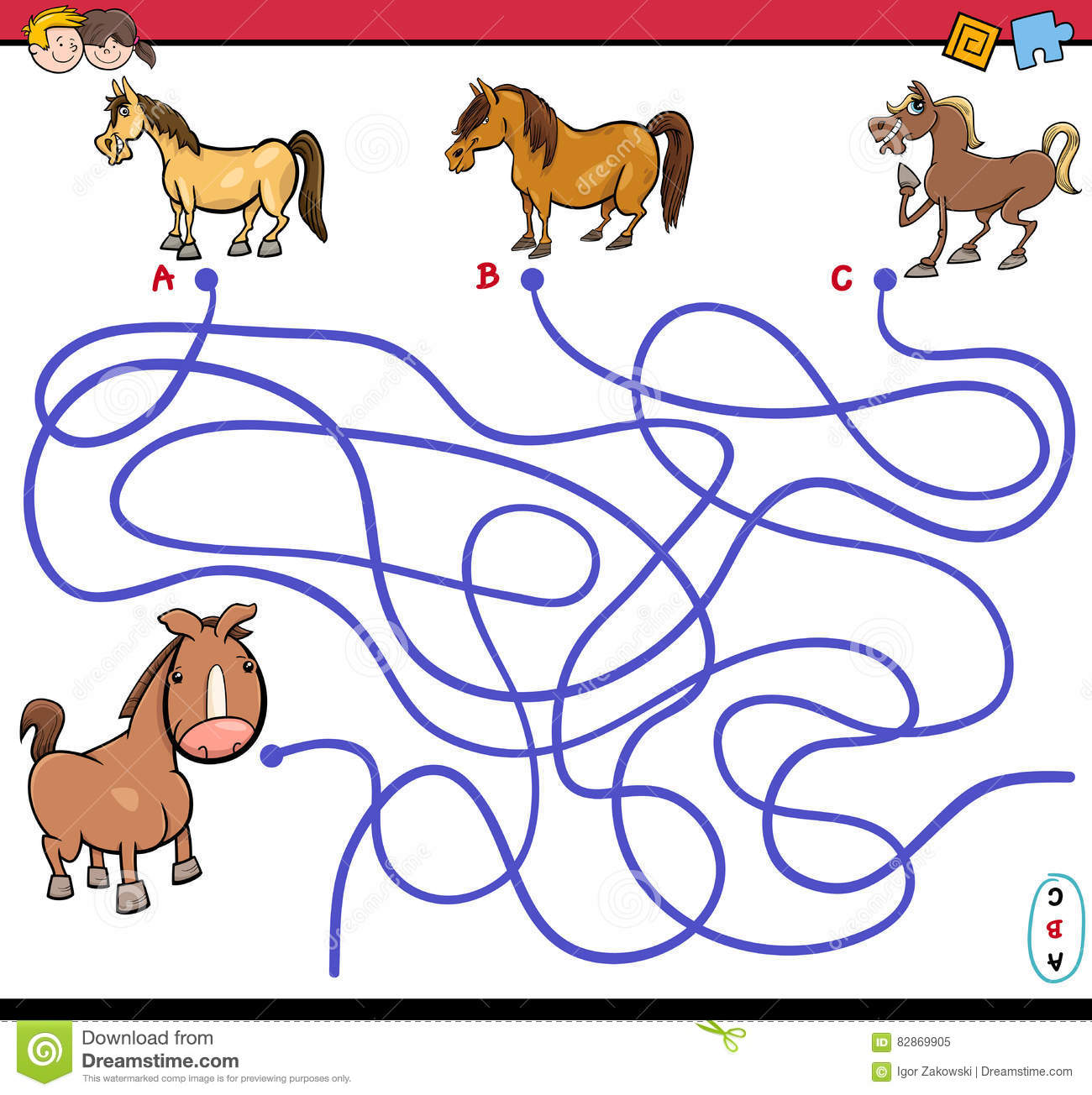 Path Maze Game With Horses Stock Vector Image Of Search