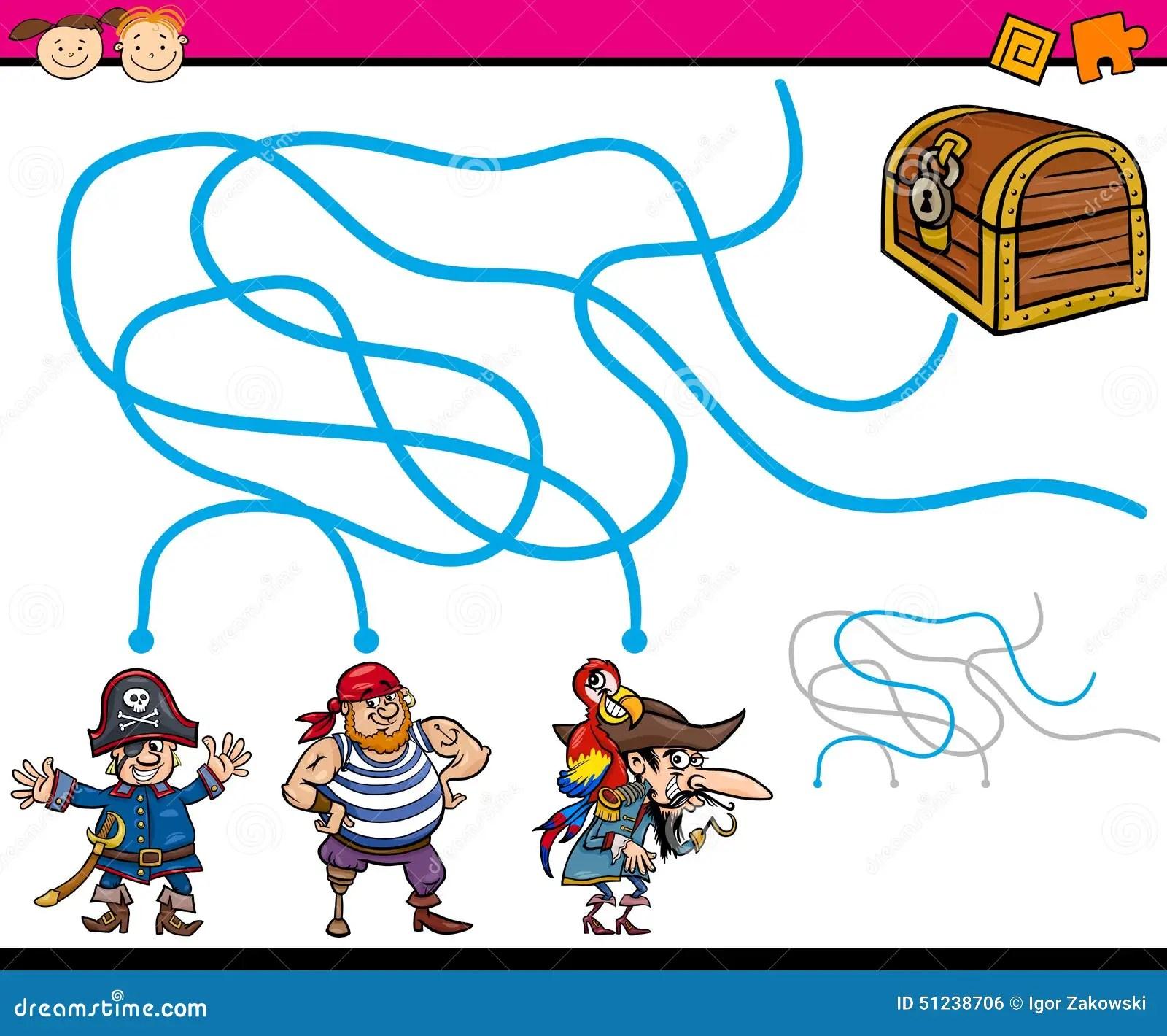Paths Or Maze Cartoon Game Stock Vector