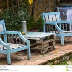 Patio Furniture Made Using Reclaimed Wood In Colombia Stock Photo Image Of America Colonial 97568470