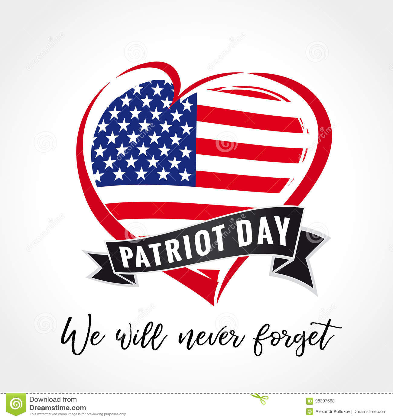 Patriot Day Usa Heart Emblem Colored Stock Vector