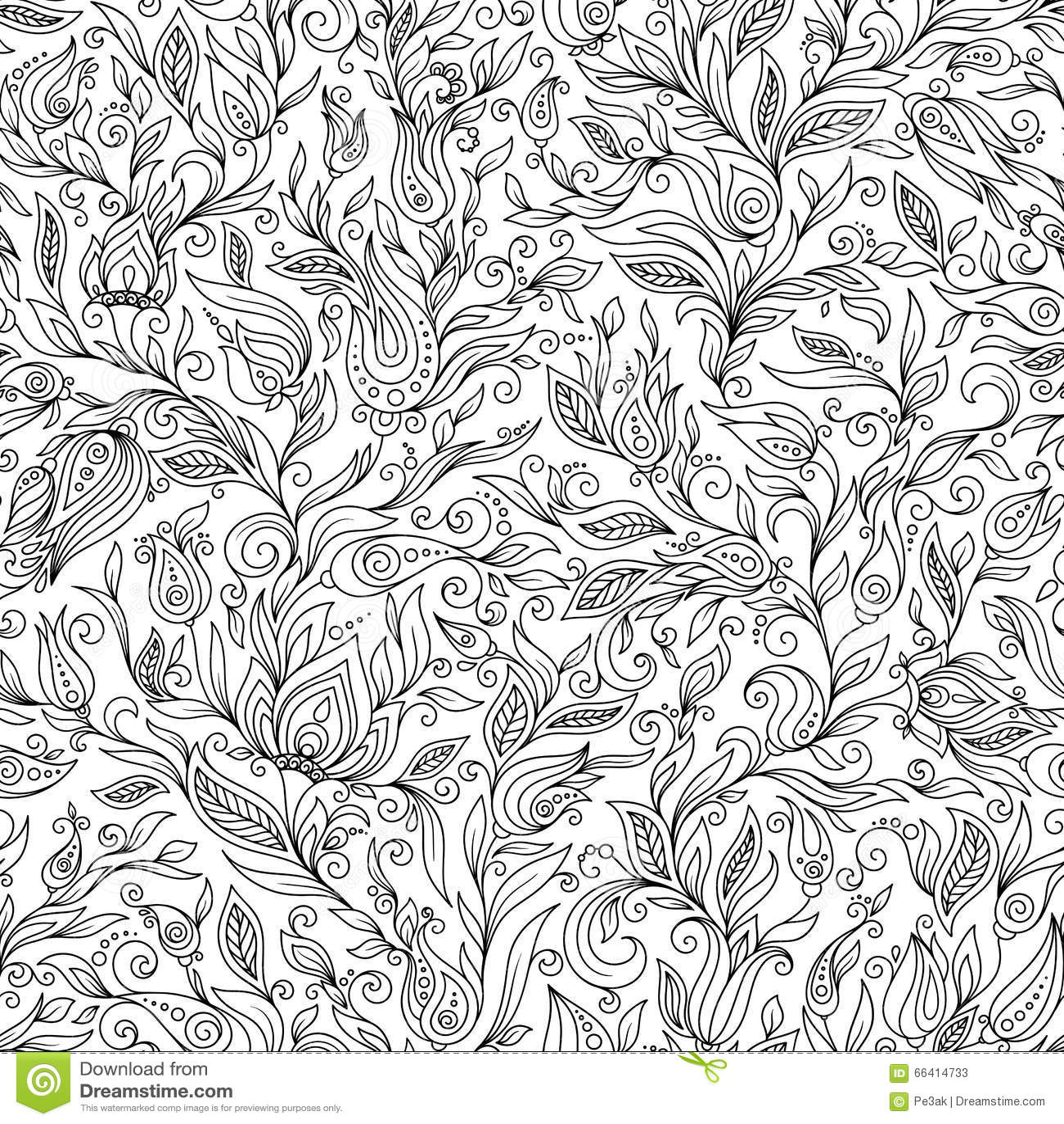 Pattern For Coloring Book Floral Doodle Design