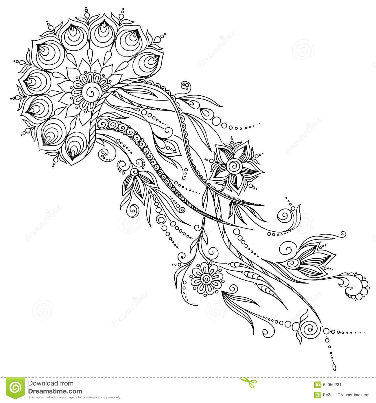 Pattern For Coloring Book Illustration Of Jellyfish In