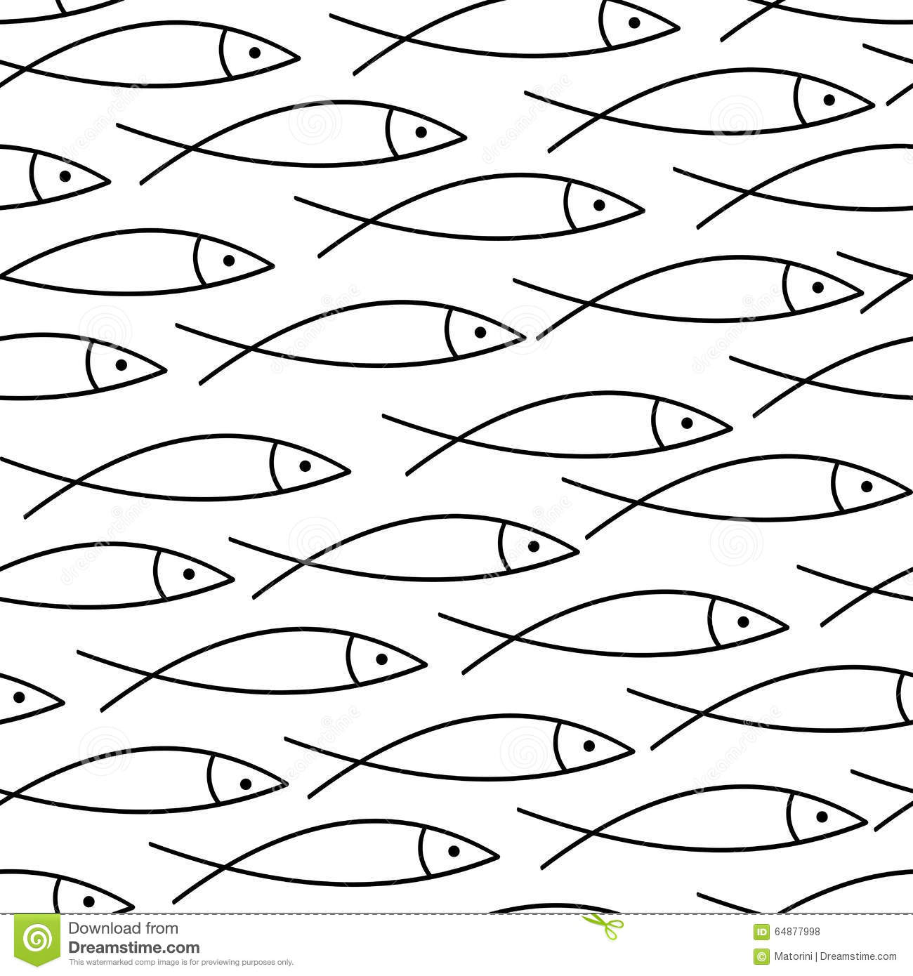 Pattern With Primitive Fish Stock Vector