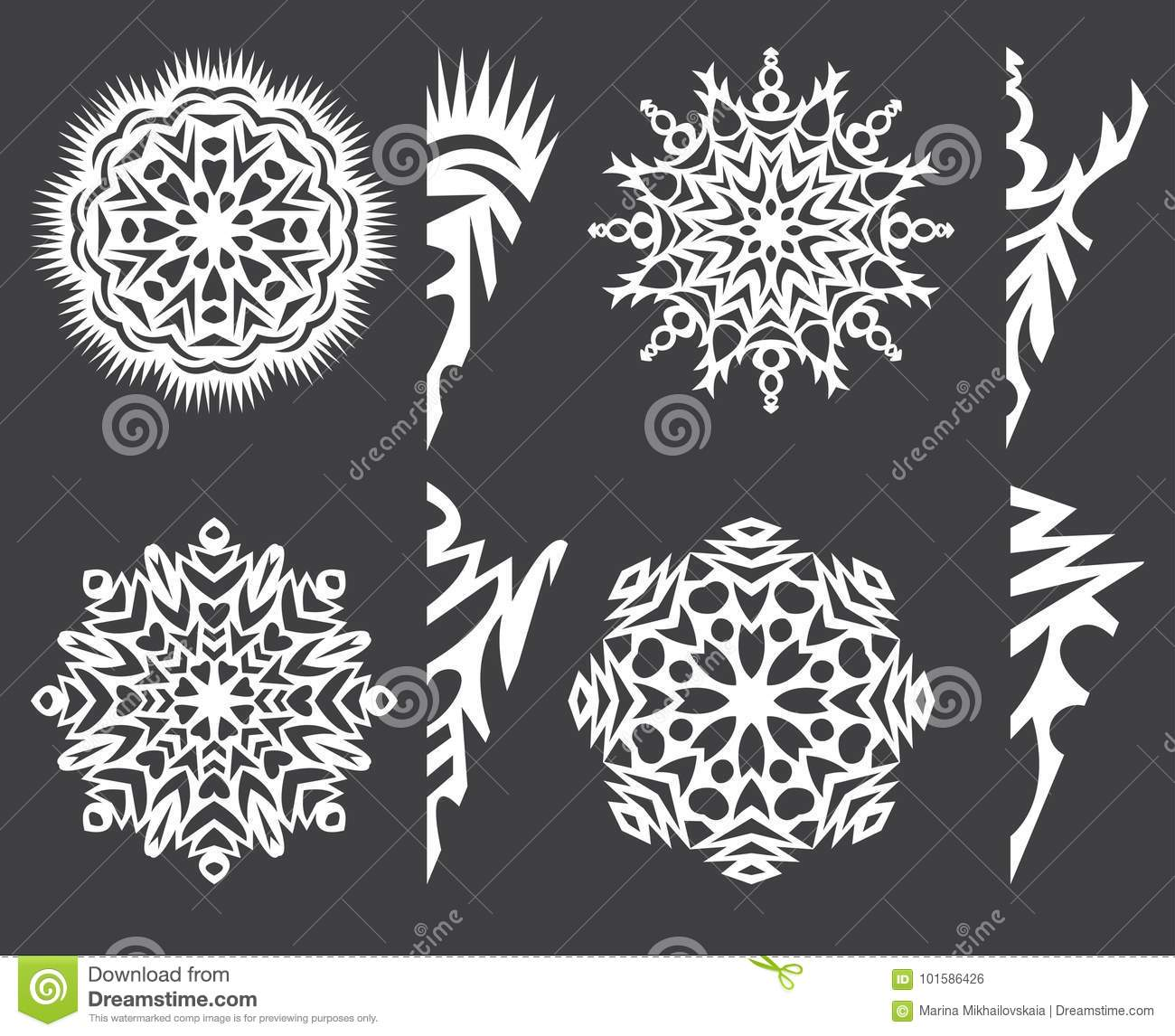 Pattern Of Snowflakes For Cutting Out Paper On A Dark
