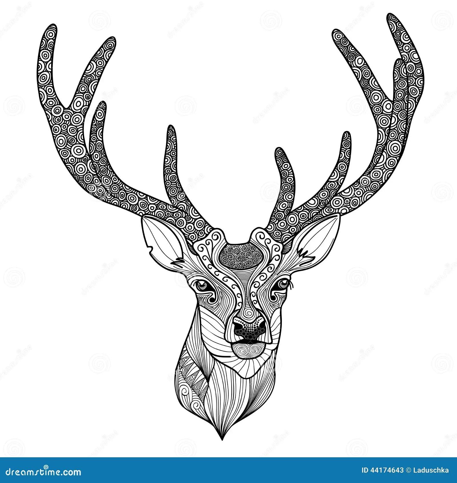 Patterned Deer Head Stock Vector Illustration Of Noble