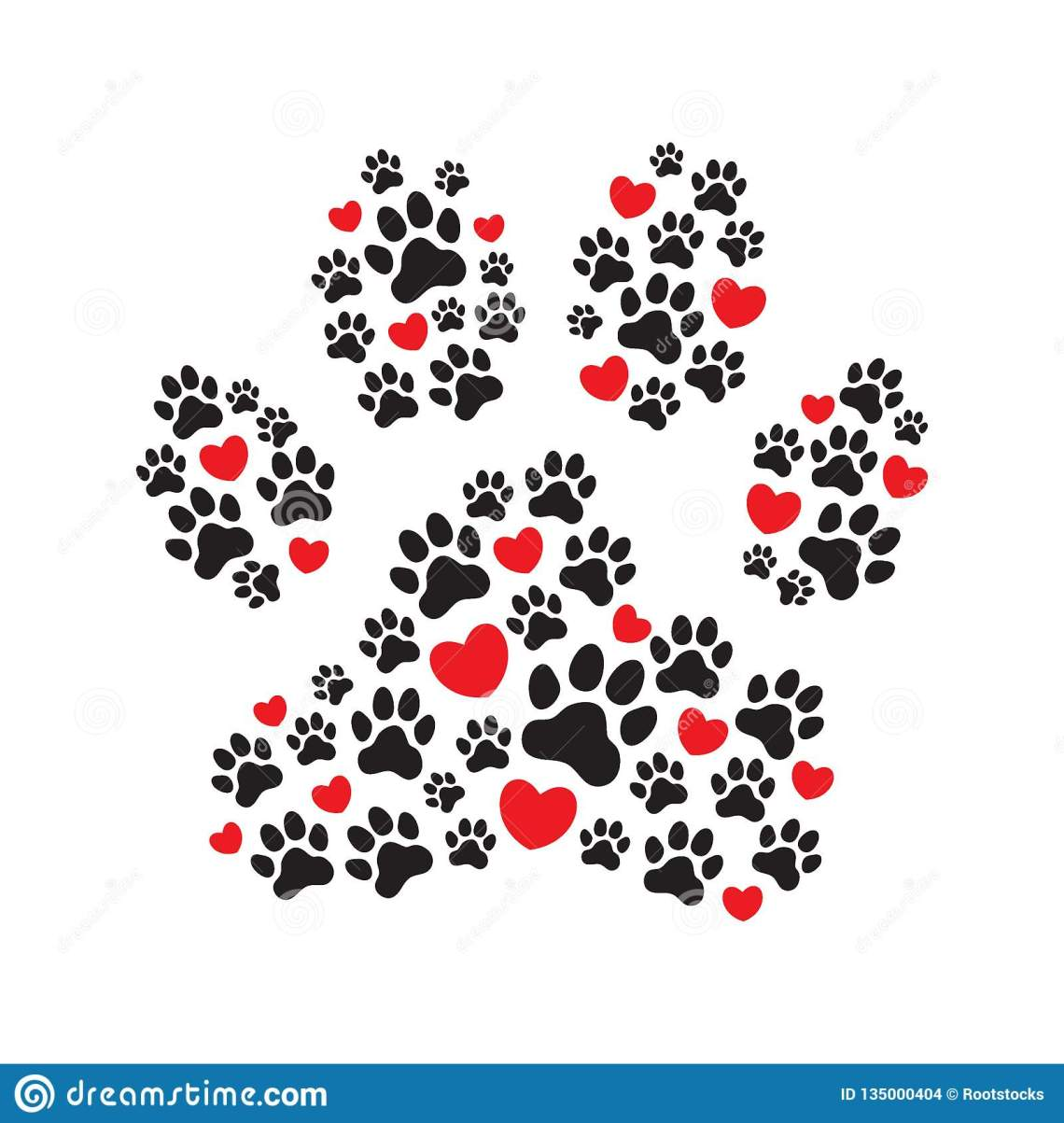Download Paw Print Filled With Paw Prints And Hearts Stock ...