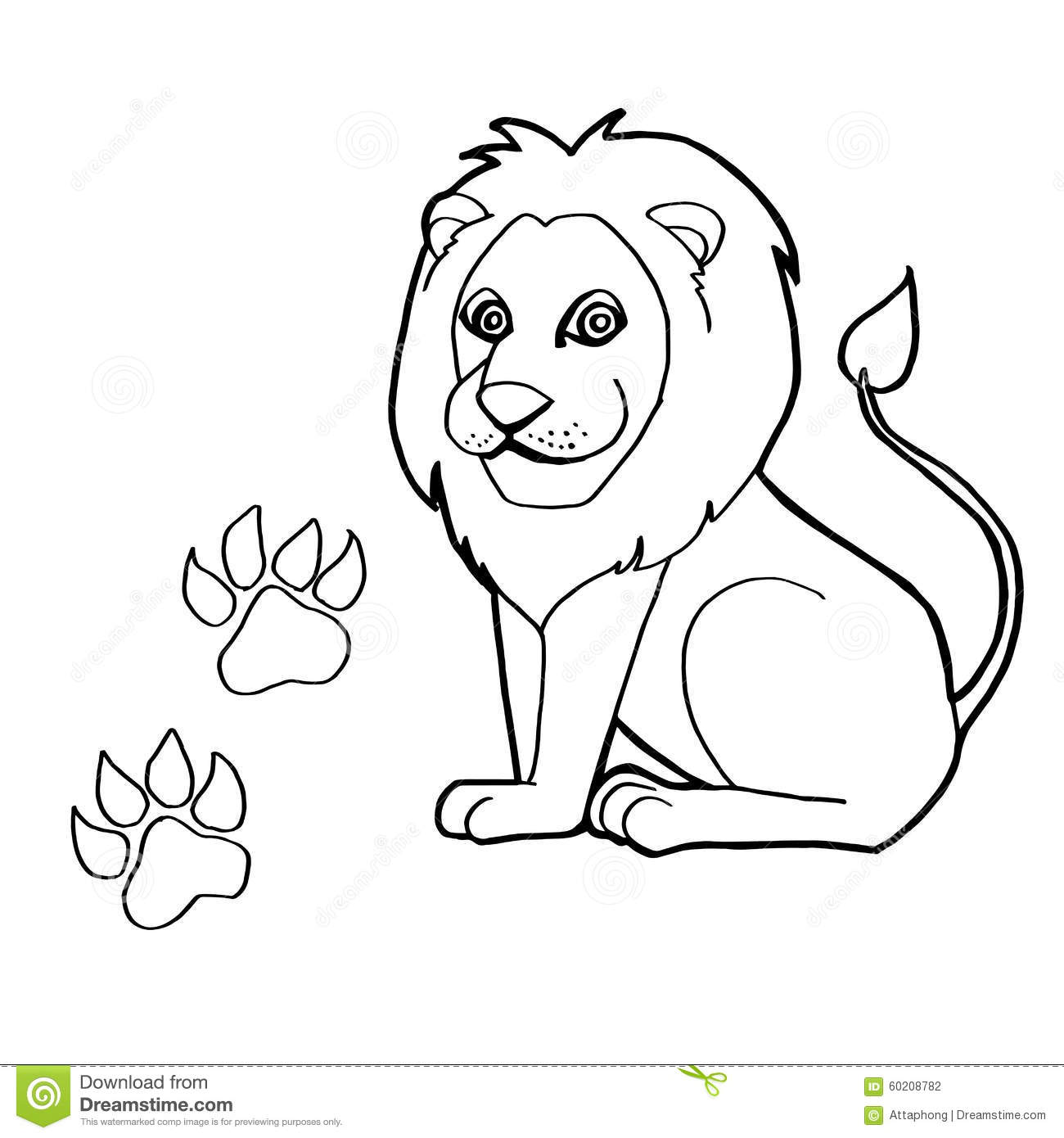 Paw Print With Lion Coloring Pages Vector Stock Vector