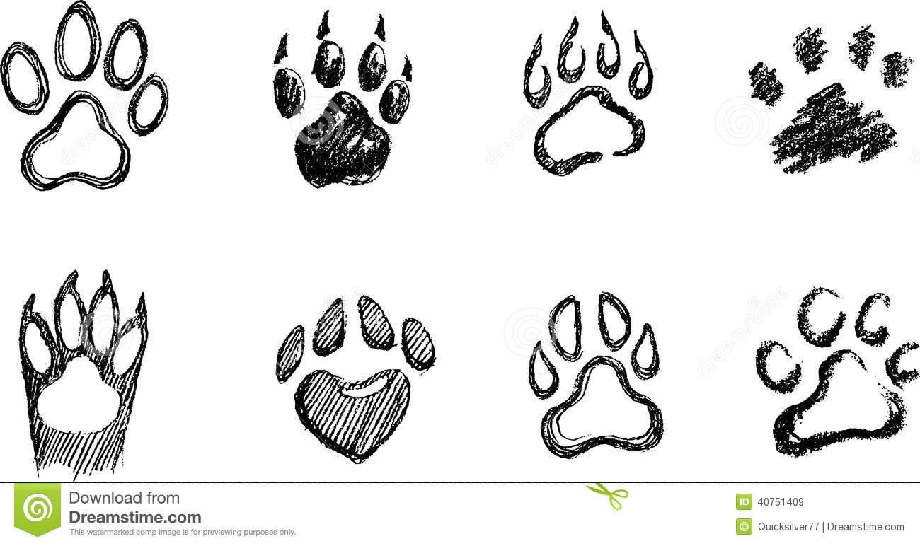 Paw Print Sketch Set Stock Vector