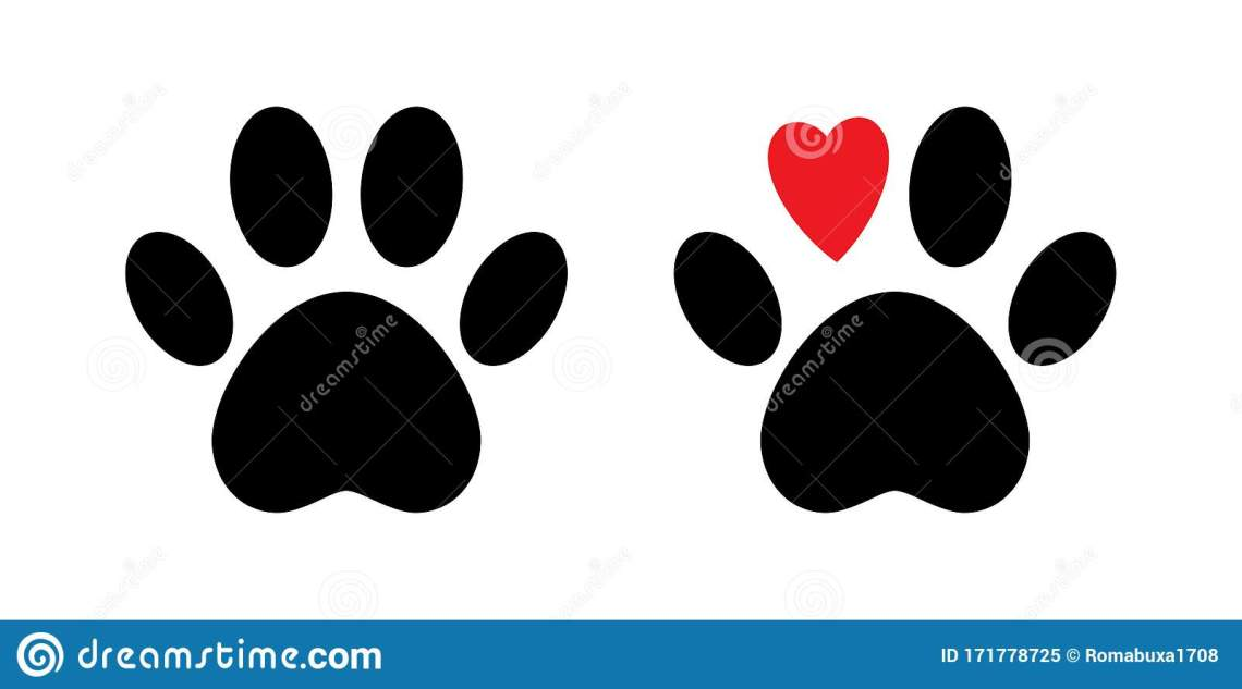 Download Paw Print Vector Isolated Icon. Paw With Red Heart. Dog ...