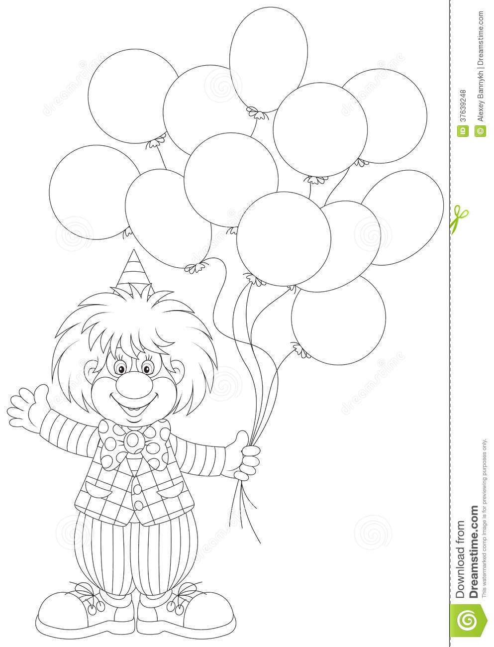 Clown Holding Balloons Coloring Page. clown coloring pages ...