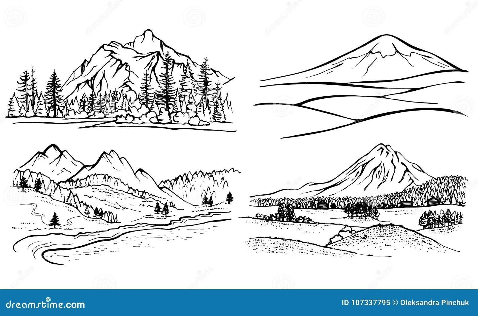 Paysage De Montagne De Dessin Au Crayon Pins De Foret