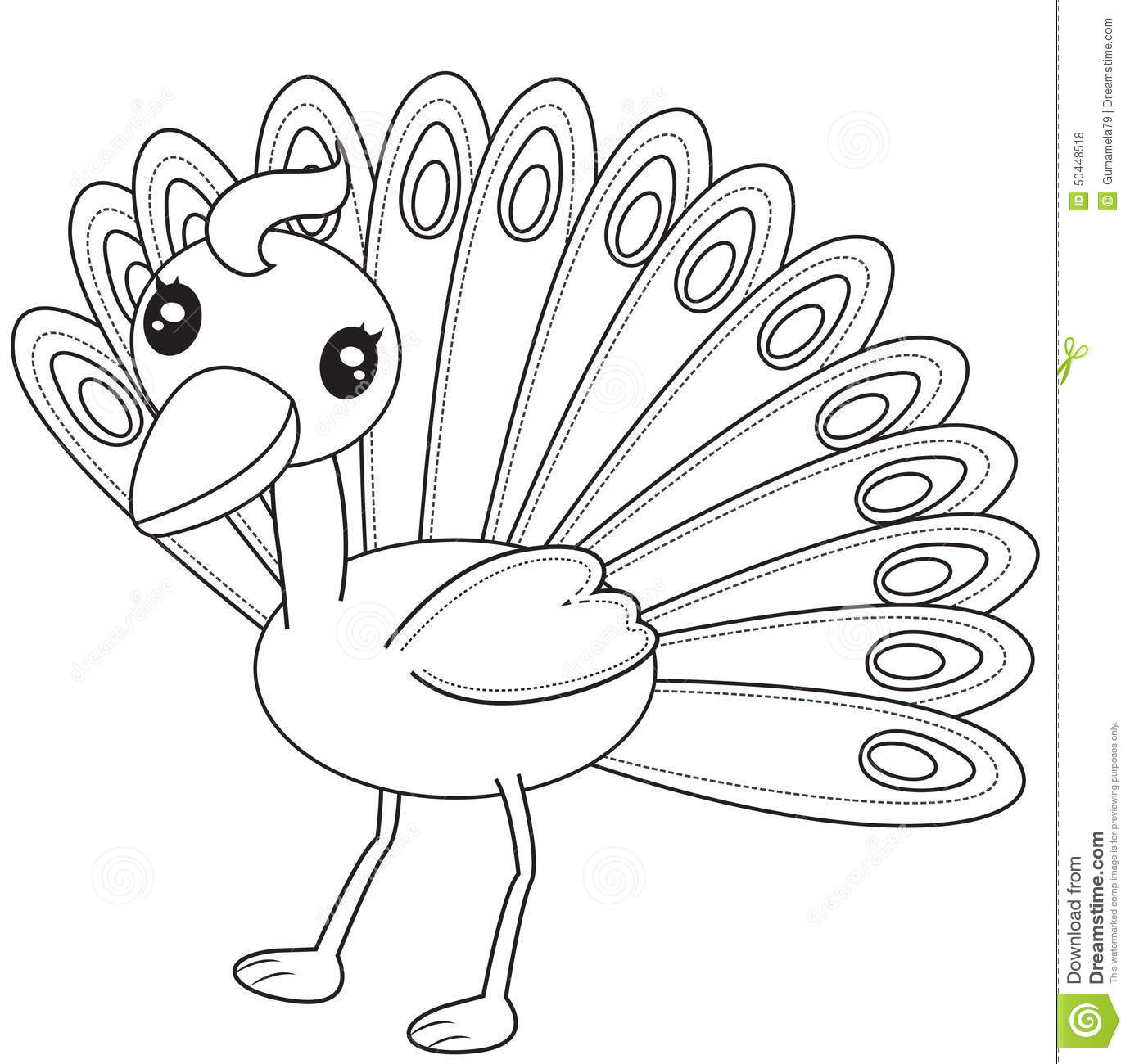 Peacock Coloring Page Stock Illustration Illustration Of