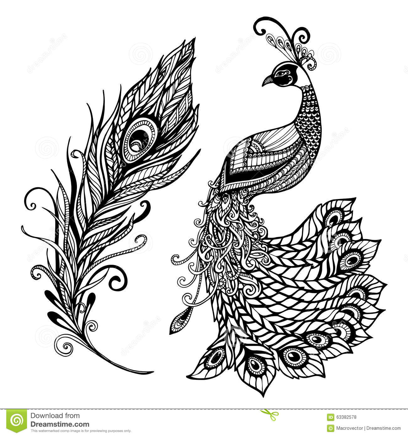 Peacock Feather Design Black Doodle Print Stock Vector