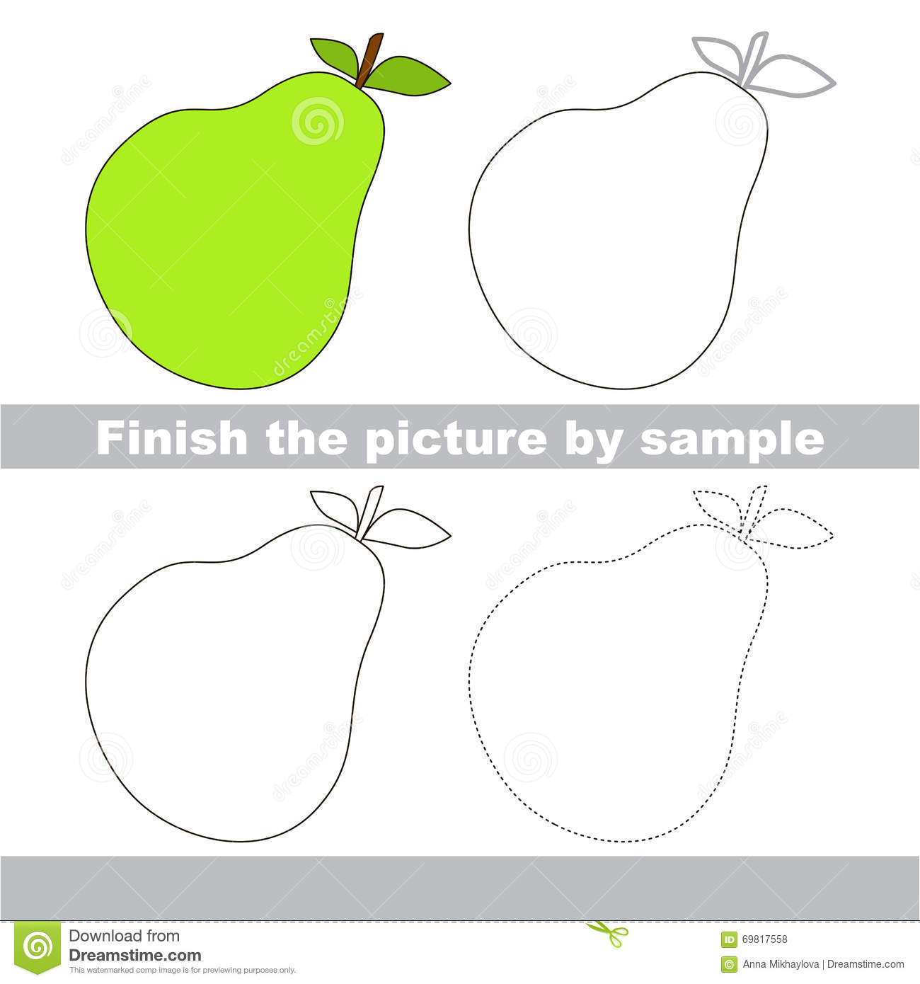 Pear Drawing Worksheet Stock Vector Image Of Paper
