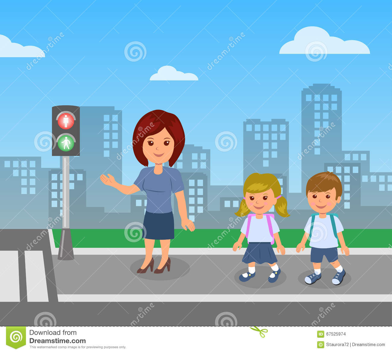 Pedestrian Traffic Light The Teacher Shows And Explains