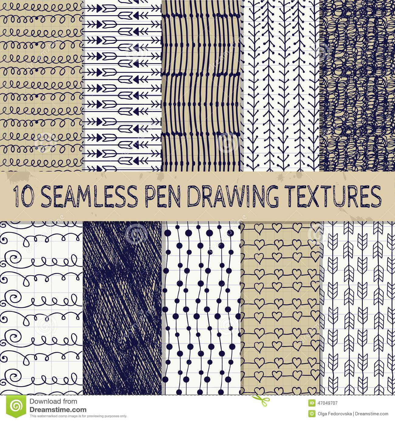 Pen Drawing Seamless Textures Stock Vector
