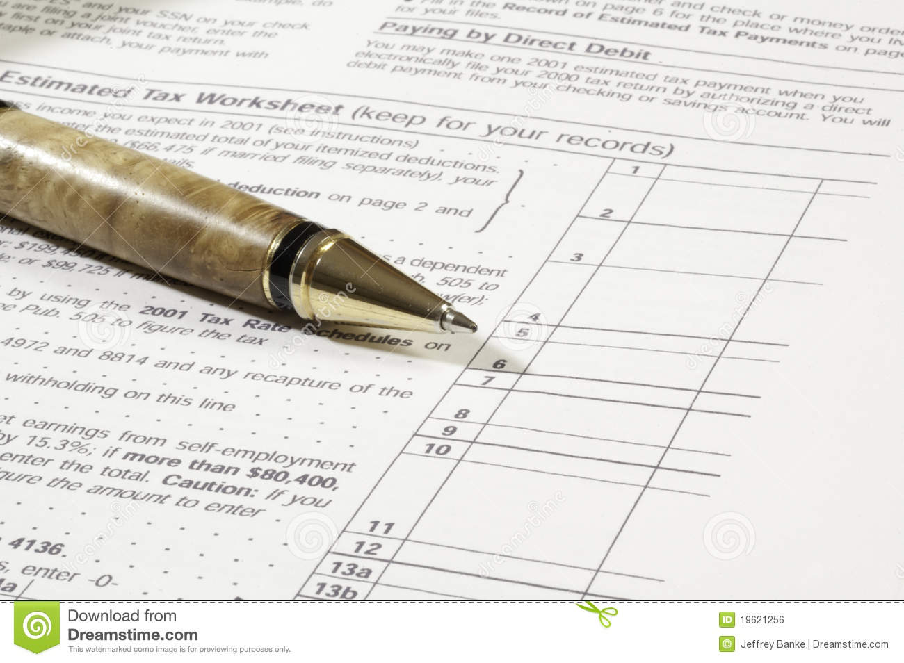 Pen With Tax Worksheet Royalty Free Stock Image