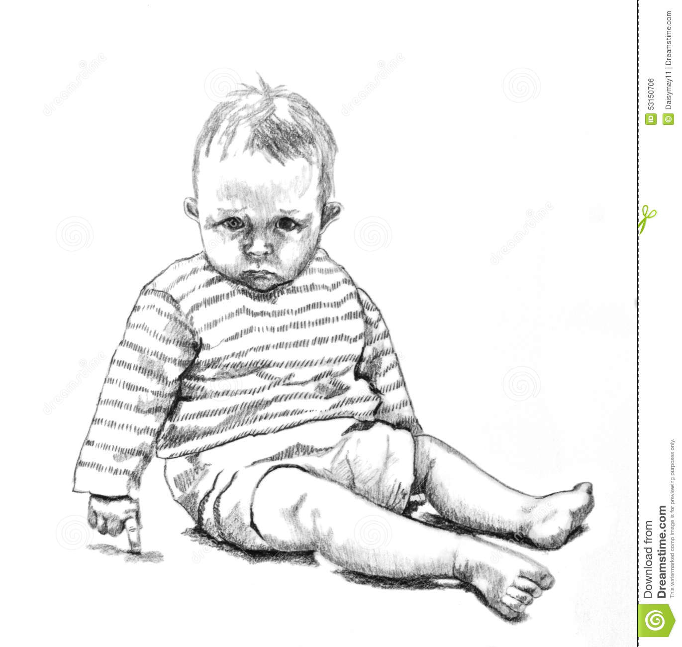 Pencil Drawing Of Baby Stock Illustration Illustration Of