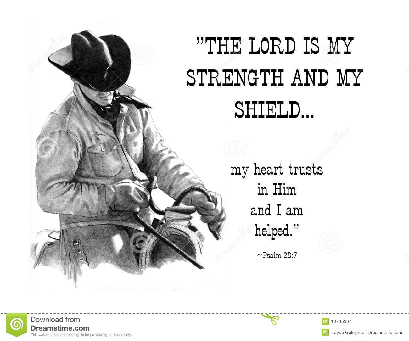 Pencil Drawing Of Cowboy With Bible Verse Stock