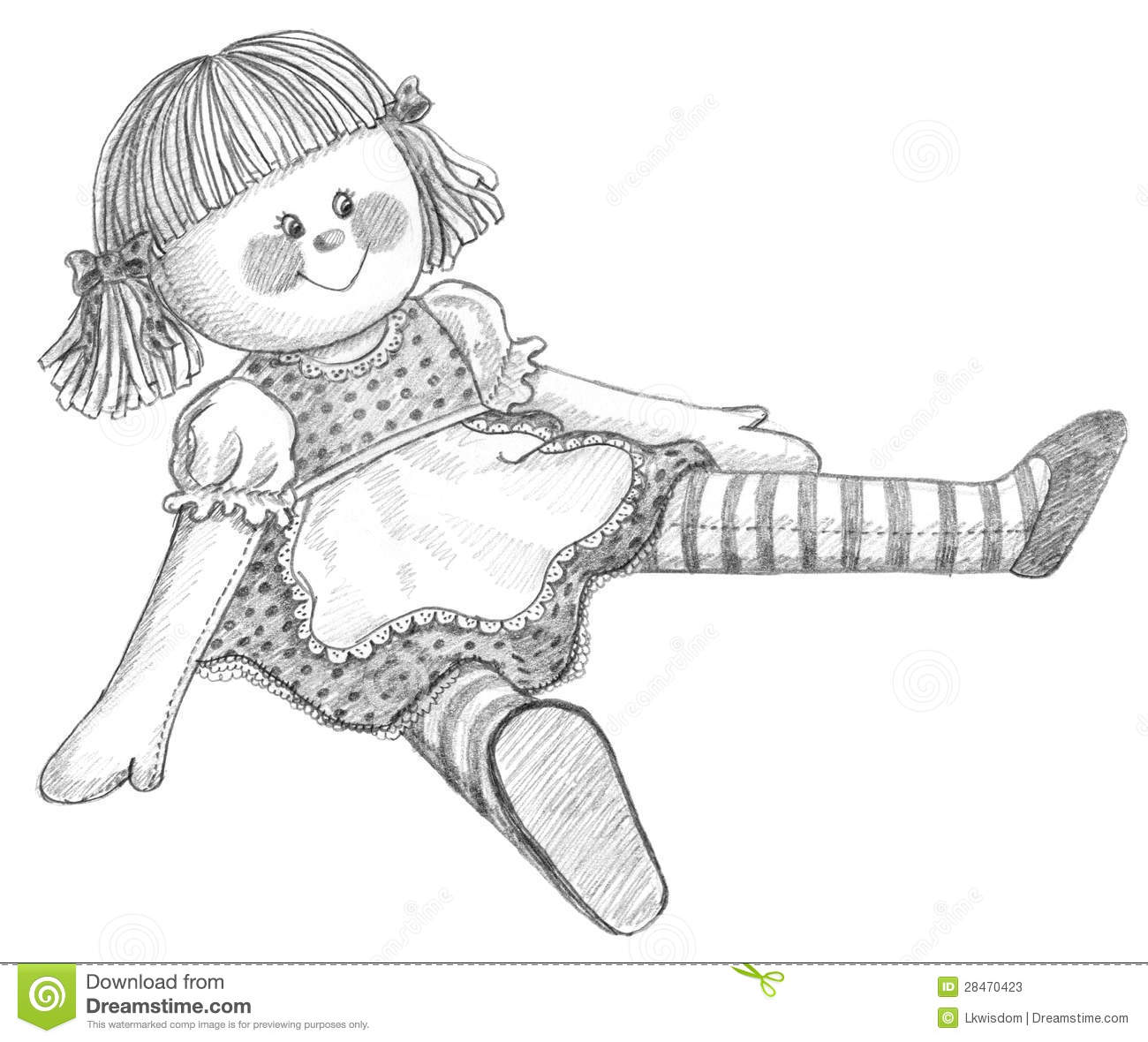Pencil Drawing Of Doll Stock Illustration Image Of