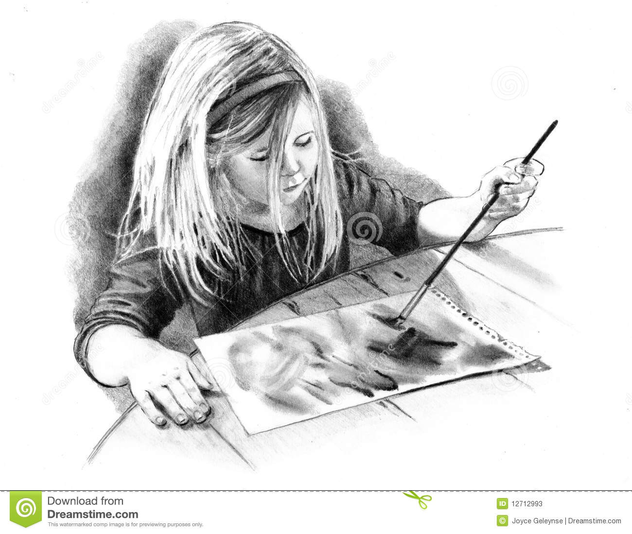 Pencil Drawing Of Little Artist Girl Stock Photos Image