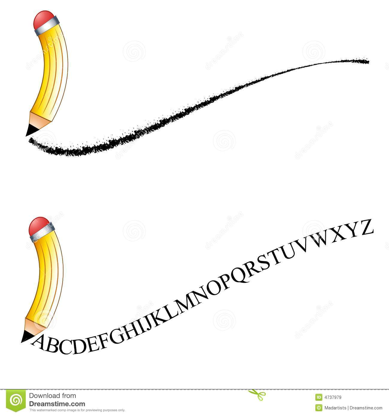 Pencil Writing Logos Or Clip Art Stock Illustration