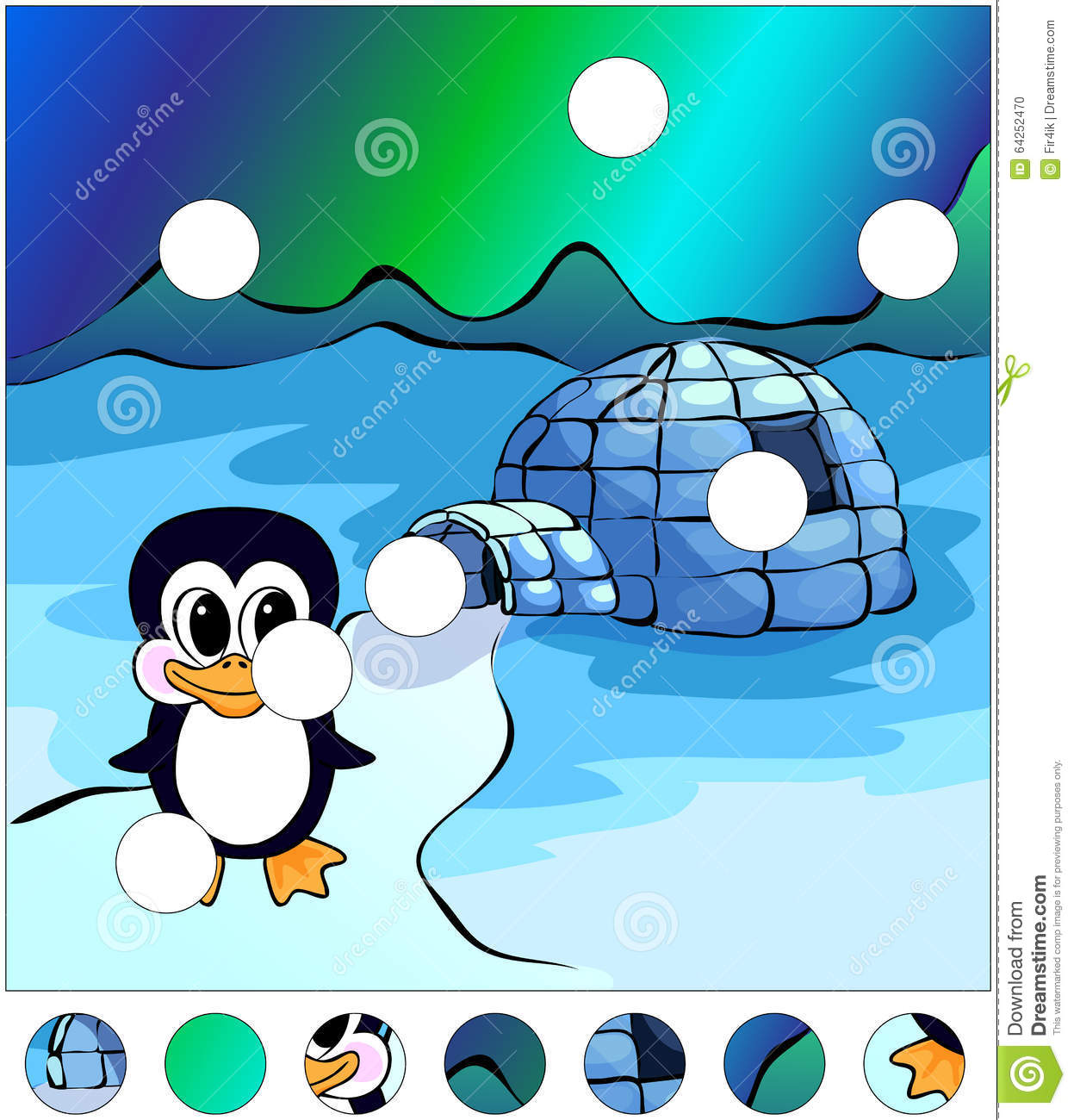 Penguin Near The Igloo And Northern Lights In The Sky