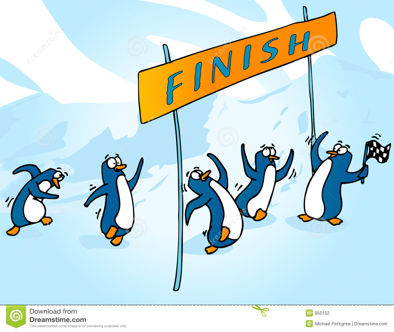 Penguin Race Stock Illustration Image Of Completion