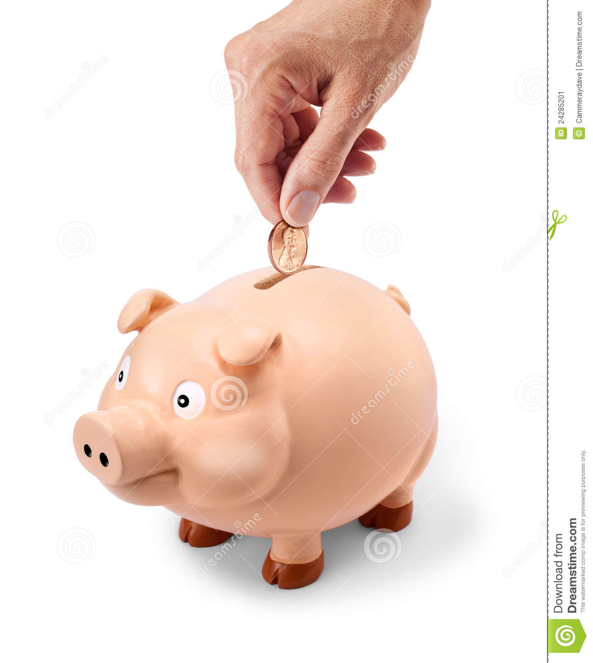 Penny Piggy Bank Hand Stock Image