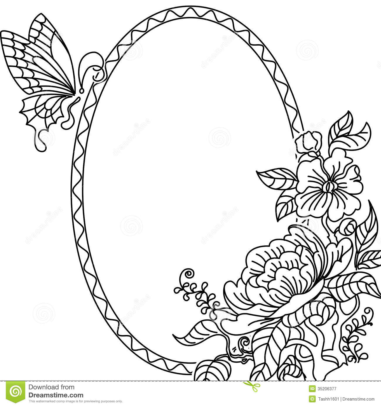 Peony And Butterfly Frame Bw Stock Illustration