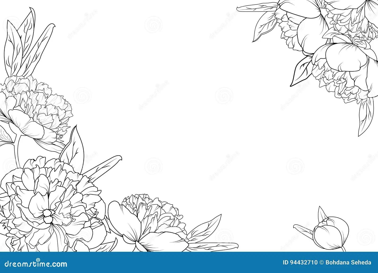 Peony Rose Garden Flowers Corner Border Frame Stock Vector