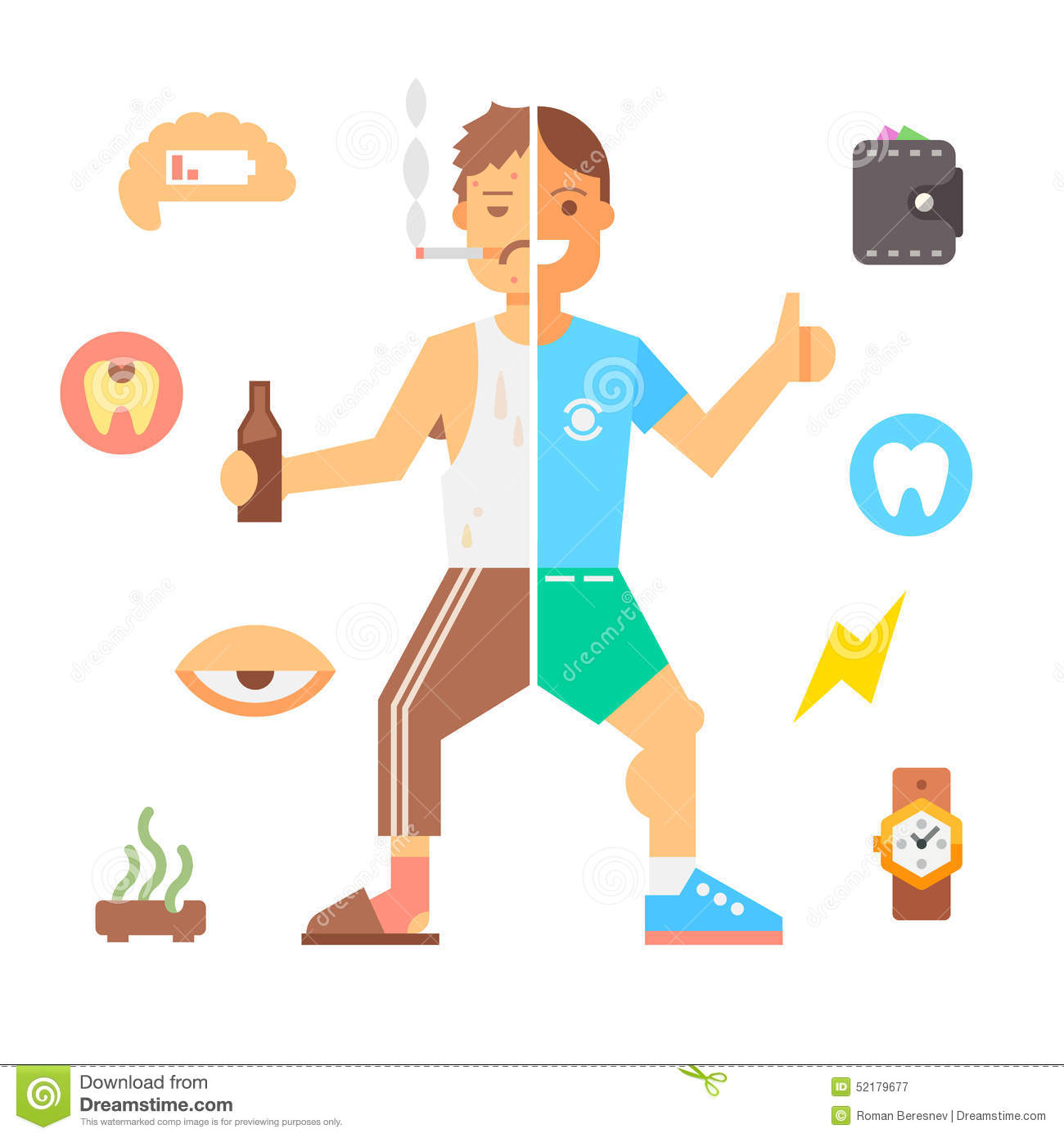 People With Bad Habits And Healthy People Stock Vector