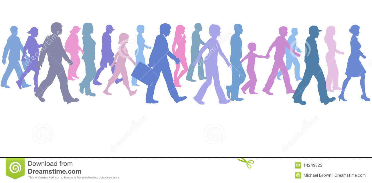people of color group walk follow direction leader royalty free stock