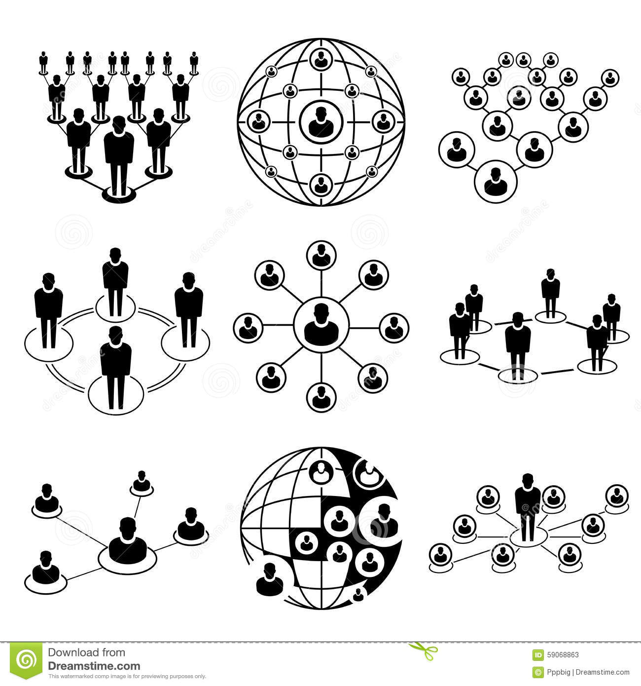 Business People Connecting Networking Icons Cartoon