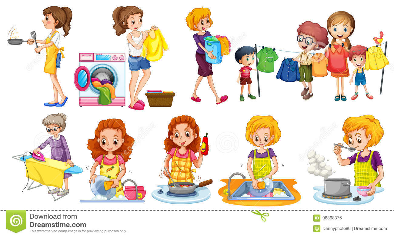 People Doing Different Houseworks Stock Vector