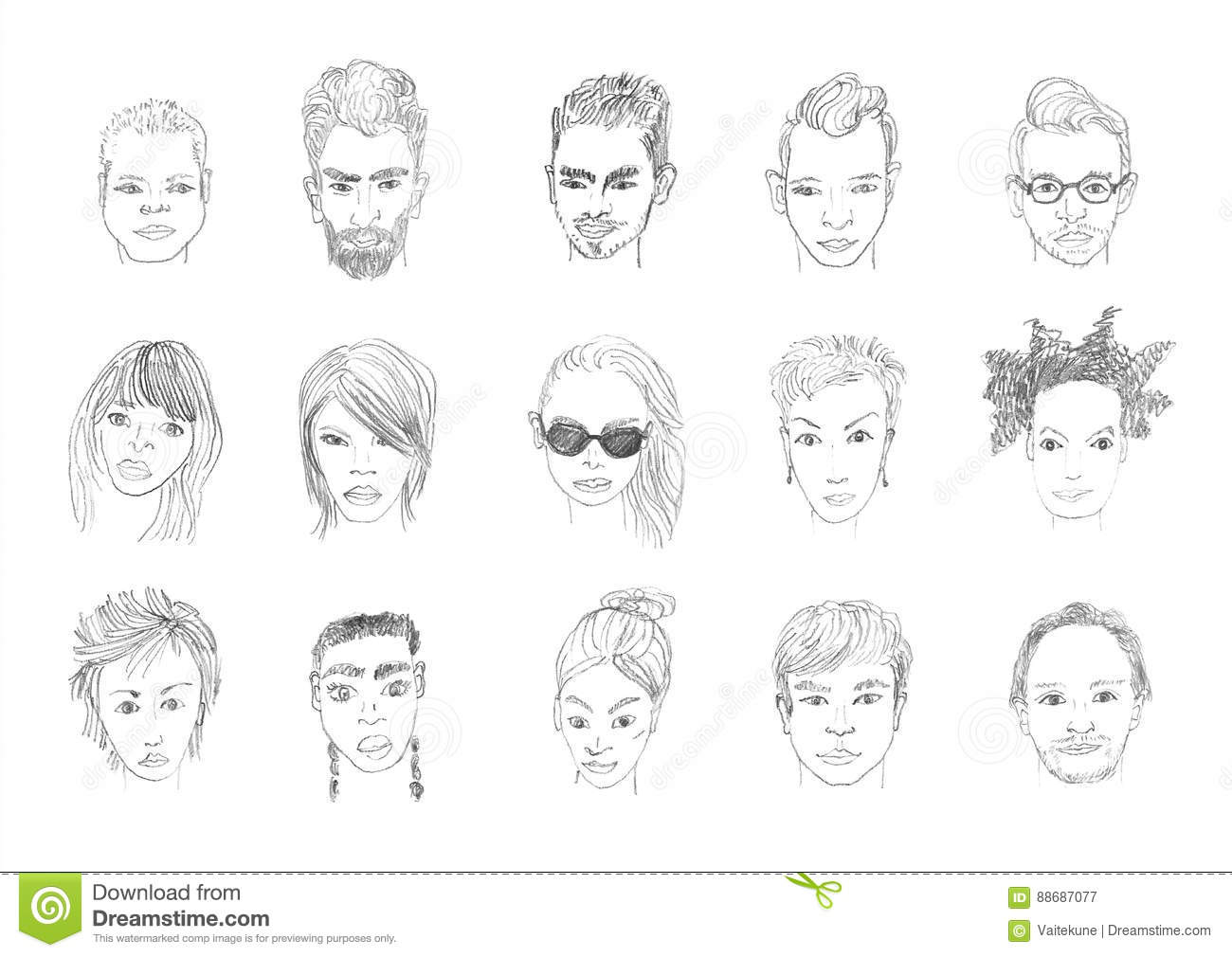 People Faces Pencil Drawing Stock Illustration