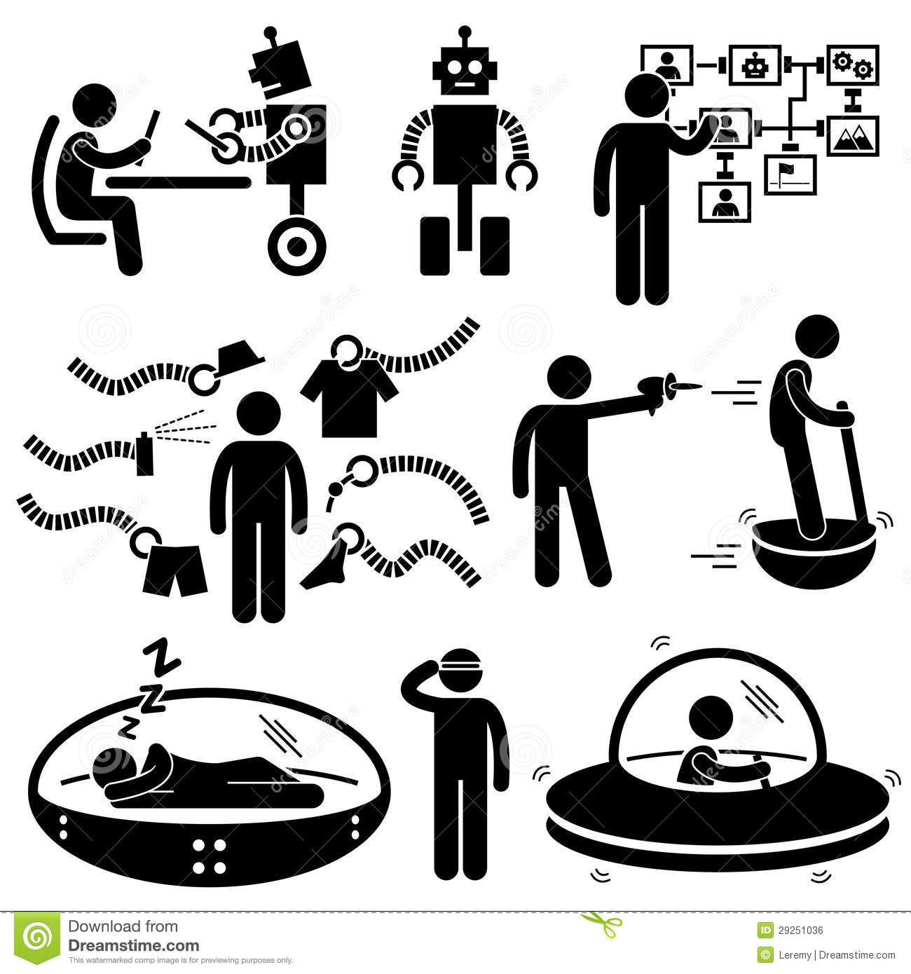 People Future Robot Technology Pictograms Stock Vector