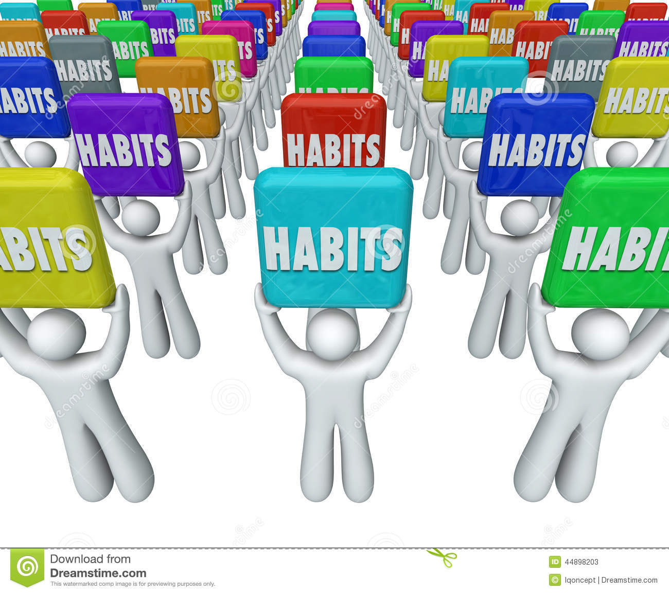 People Holding Habits Words Successful Routines Achieve