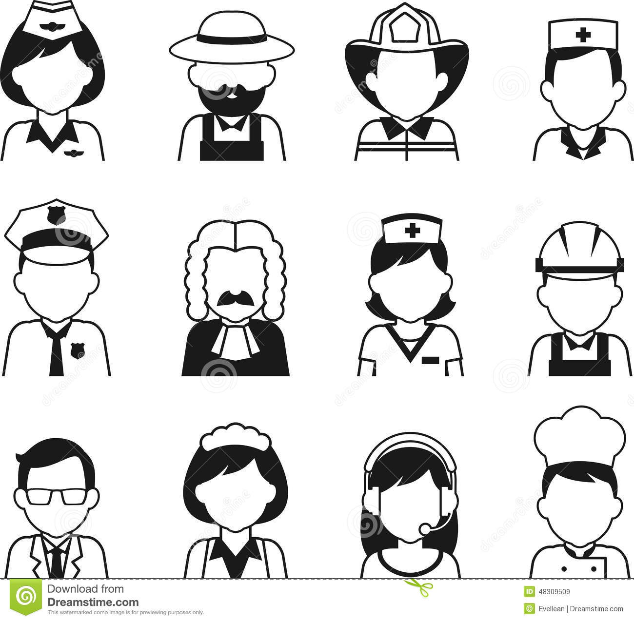 People Occupation Avatar Set In Thin Flat Style Stock