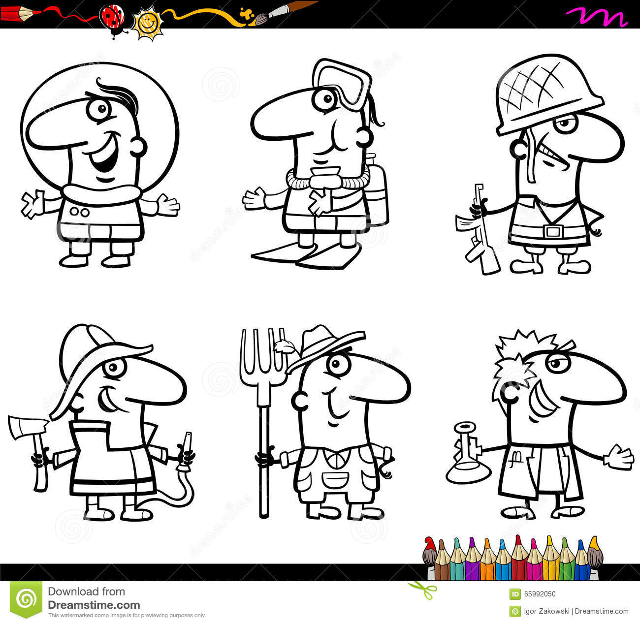 Occupations Coloring Page