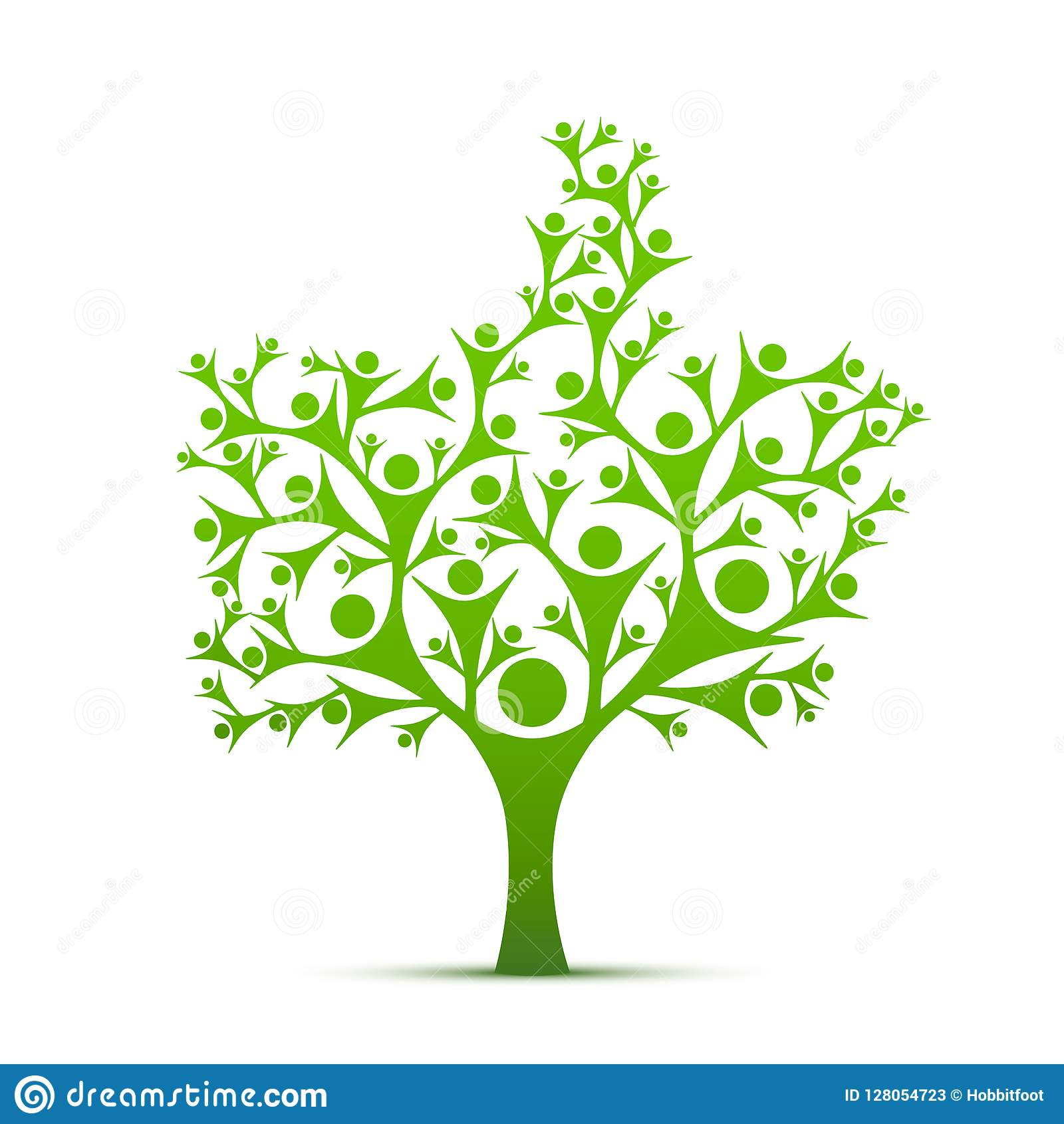 People Tree Sign Color Green Stock Vector