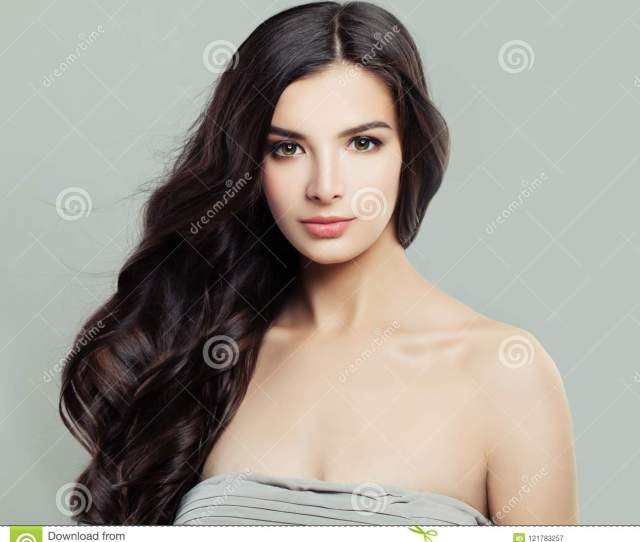 Gorgeous Brunette Woman With Natural Makeup