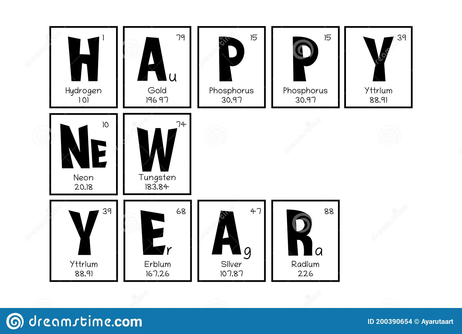 Periodic Table Christmas And New Year Celebration Poster Greeting Card Mendeleev Table Elements Design For A Holiday Stock Vector Illustration Of Education School 200390654