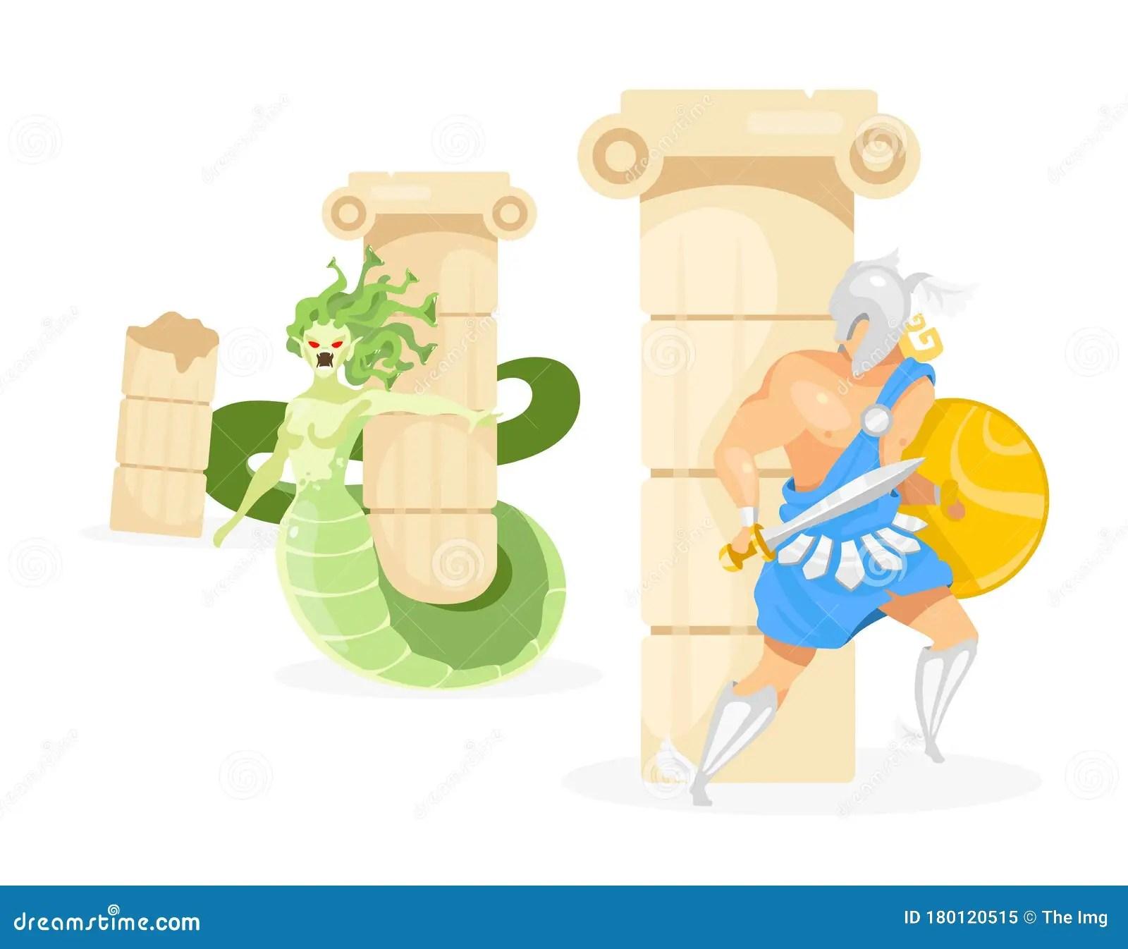 Perseus And Medusa Flat Vector Illustration Stock Vector