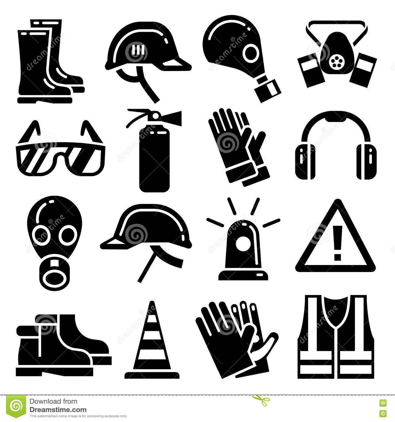 Personal Protective Equipment Vector Icons Set Stock